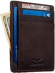 男式钱包前口袋修身真皮 RFID 屏蔽6名片夹磁性钱夹