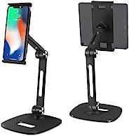 手机平板电脑支架多角度平板电脑支架桌面 iPad 支架可调节可折叠铝手机支架适用于 4-13 英寸 iPad Pro Air Mini Kindle iPhone 11 Pro XR Xs Max 等,黑色