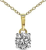 Tanache 5/8 克拉钻石项链 IGI 认证 14K 黄金天然钻石项链 女式 * 真单钻钻石吊坠项链 带14K 金链(钻石珠宝礼品)