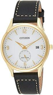Citizen 西铁城 男士光动能不锈钢石英皮革小牛皮表带,黑色,20 休闲手表(型号:BV1112-05A)