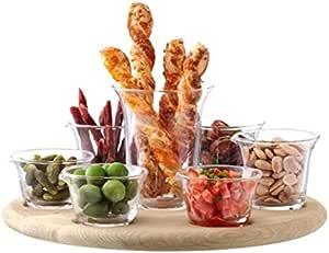 LSA International 西班牙式小吃餐具套装,含橡木底座,透明玻璃,34cm