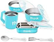 Thinkbaby 9件套喂食套装|婴儿碗、麦片碗、便当盒、盖子、儿童杯、叉子和勺子|不含双酚A,不锈钢可拆卸内部-浅蓝色