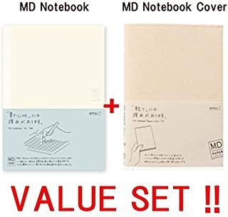 Midori MD 笔记本 - A5 网格纸 (15003006) + MD笔记本夹克 A5 - 光纸和出众 (49841006) -价值套装! !