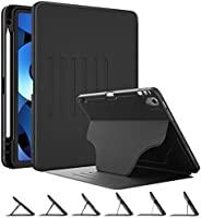 DTTO iPad 10.8 保護套額外保護但纖薄保護套,帶鉛筆架和強磁性,5 個方便的支架角度,自動休眠/喚醒,黑色