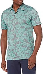 亚马逊品牌 - 28 Palms 男式休闲修身棉质热带印花珠地布高尔夫 Polo 衫