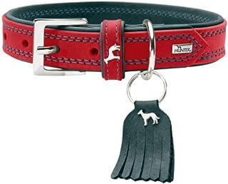HUNTER LUCCA 狗狗项圈,皮革,柔软,结实,现代,65(L),红色/绿松石色