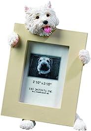 Westie 相框可容纳您*喜欢的 6.35 x 8.89 cm 照片,手绘逼真 Westie 支架 15.24 cm 高 Holding Beautifully Crafted Frame,送给 Westie 所有者独