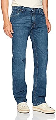 Wrangler 正品男式经典直筒牛仔裤 Rvement Blue Flex 30W x 32L