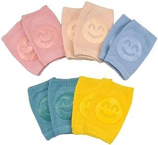 HQDeal 5 双装婴儿护膝,幼儿爬行防滑保护,弹性婴儿护腿套,带橡胶圆点,适合 0-24 个月的宝宝