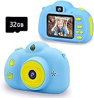 Seckton *儿童自拍摄像机,便携式玩具,3 4 5 6 7 8 岁男孩的圣诞礼物,3-9 岁男孩的圣诞礼物,高清数码摄像机,适合幼儿,带 32GB SD 卡 - 蓝色