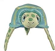 野生動物藝術家創作的野生和美妙的帽子,綠海龜毛絨填充動物帽,兒童玩具動物帽