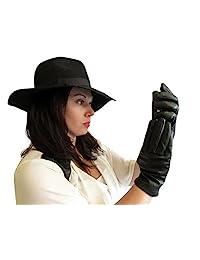 FOWNES TOUCHPOINT 女式羊毛/羊绒内衬黑色羊皮智能手套