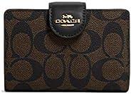 Coach 蔻驰女式中号边角拉链钱包,标志性帆布 棕色 - 黑色
