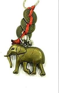 DevDeep Chrismas 特别风水红中国结3枚硬币大象(象象象象神的象征)钥匙圈/钥匙链/流苏将3个天堂的祝福带到您的家中。