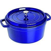 Staub Cocotte/圓形帶蓋 琺瑯鑄鐵鍋 (22 cm, 6.7 L, 適用于電磁爐, 在內部有搪瓷鍍層) 深藍