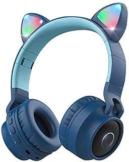 Damikan 无线蓝牙儿童耳机 猫耳蓝牙头戴式耳机 LED 灯 FM 收音机 TF 卡 Aux 麦克风 适用于 iPhone/iPad/Kindle/笔记本电脑/PC/电视(蓝色)