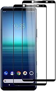 Foluu [2 件装适用于 Sony Xperia 5 II 屏幕保护膜,钢化玻璃【全粘】【全覆盖】【无气泡】【防刮】高清清晰高响应 Sony Xperia 5 II 2020 发布
