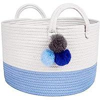 Solaya Rope Basket 储物:超大天然棉编织篮带手柄 - 用于洗衣、衣服、尿布、玩具、杂志、毛巾、水果(3…