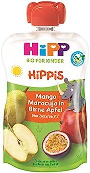 HiPP 喜寶 兒童果泥 梨/蘋果/芒果/百香果味,純Bio水果/不含添加糖,擠壓式軟袋(6 x 100g)