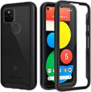 Seacosmo 兼容 Google 谷歌 Pixel 5 手机壳,全身防震保护套 [ 带内置屏幕保护膜 ] 超薄贴合防撞保护套 适用于 Pixel 5 5G - 黑色/透明