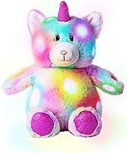 Dazmers 发光柔软毛绒猫独角兽玩具 - LED 填充动物带彩色夜灯 - 发光填充动物适合儿童睡觉