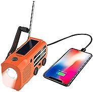 Xrabbit 天气收音机,太阳能手动曲柄便携式收音机,天气收音机,带 AM/FM/WB,LED 手电筒,阅读灯,5000 mAh 移动电源,USB 充电器和 SOS 警报辅助耳机插孔