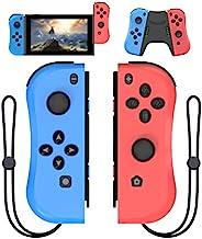 KINVOCA Joy Pad控制器适用于Nintendo Switch,L/R开关控制器更换,有线/无线开关遥控器 - 蓝色和红色
