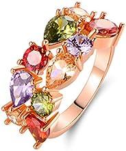 Barzel 18K 鍍金和玫瑰金鍍層多色鑲嵌寶石戒指