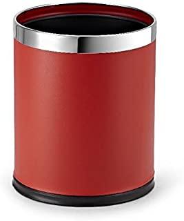 Brelso 小型办公室垃圾桶 开放式小型垃圾桶 Invisi-Overlap' 金属垃圾桶 粉末房、梳妆台、浴室(红色)