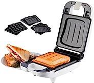 Korona 47041 三明治制作器 适用于小型家庭使用 - 三明治烤面包机 3 合 1 可更换板