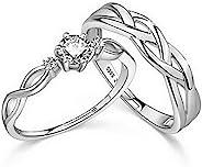 COLORFUL BLING 2 件结婚对戒套装,方晶锆石镶嵌爱心情侣可调节戒指,全锆石镀银戒指,适合女士女孩情人节订婚