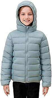 SOLOCOTE 女孩冬季外套轻质防水防风可折叠连帽羽绒服,SLN2108-Greyblue-9-10Y