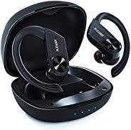 XLeader Sport5 无线蓝牙运动耳机降噪 HiFi 深低音耳机 IPX8 防水耳塞带充电盒舒适耳机,适合锻炼健身房跑步旅行