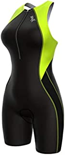 Sparx 女式 Core 铁人三项运动套装带内置支撑文胸循环游泳跑步(黑色/霓虹绿,中号)