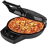 Courant 披薩機,12 英寸(約 30.4 厘米)披薩鍋和卡爾頓機,定時器和溫度控制,1440 瓦披薩烤箱轉換為電動室內燒烤,黑色