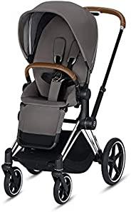 Cybex Priam 3 完整婴儿车,单手小巧折叠,双面座椅,平滑全轮悬架,额外存储空间,可调节腿托,曼哈顿灰带铬/棕色框架