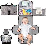 便携式尿布更换垫,便携式尿布更换垫,适合新生儿男孩和女孩 - 婴儿更换垫带智能湿巾口袋 - 防水旅行更换站套装 - Kopi Baby 婴儿礼物
