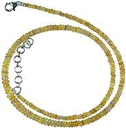 Myhealingworld 天然黃色底座埃塞俄比亞貓眼石寶石珠子 40.64 厘米串珠項鏈附加 5.08 厘米延長珠珠尺寸在 2mm 到 5mm 之間不等。