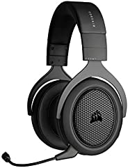 CORSAIR 海盗船 HS70 蓝牙有线游戏耳机 - 适用于 PC、Mac、Xbox Series X、Xbox Series S、Xbox One、PS5、PS4、Nintendo Switch、iOS 和 Andr