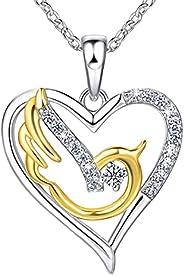 Louise Vella 纯银鸟类项链 18K 镀金心形项链女士圣灵鸽子项链基督教礼物送给青少年女孩的确认礼物