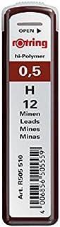 Rotring 红环 Hi-Polymer 替换笔芯 用于精细机械铅笔 0.50 毫米 HB 2 × 12 笔芯 Hi-Polymer H 0.50 mm