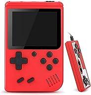 手持游戏机,复古迷你游戏播放器,500 个经典 FC 游戏,3.0 英寸屏幕 800 mAh 可充电便携式游戏机支持电视连接和两个儿童成人(红色)