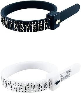 2 件*优质美国戒指尺寸测量工具,白色和黑色,可重复使用,舒适塑料首饰工具,精确戒指尺寸适合宽松戒指