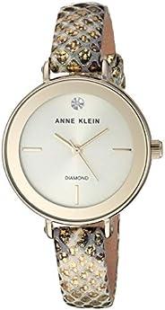 Anne Klein Women's Genuine Diamond Dial Leather Strap Watch, AK/