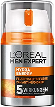L'Oréal Paris 巴黎欧莱雅 男士专家 男士面霜,保湿霜,含瓜拉纳和4倍维生素C,Hydra Energy 保湿霜 24小时抗疲劳,1 x