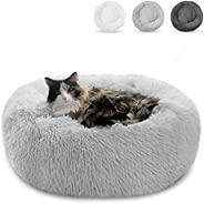 室内猫猫床,20 英寸(约 50.8 厘米)圆形甜甜圈拥抱狗床,适用于小型狗和猫蓬松宠物沙发垫,可依偎小狗可水洗自温暖柔软毛绒棉花糖狗猫床 灰色