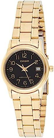 Casio #LTP-V002G-1B 女士模拟金色黑色易读表盘日期手表