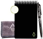 Rocketbook Smart 可重复使用的笔记本-包括1个擦擦隐形笔和1个超细纤维布 虚线网格环保笔记本-Infinity黑色外壳,迷你尺寸(3.5英寸/约8.89厘米x 5.5英寸/约13.97厘米)