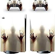 冒险游戏 - 僵尸 - 乙烯基控制台皮肤贴花贴纸 + 2 个控制器皮肤套装 - 兼容 PlayStation 5 标准版
