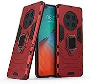 兼容华为 Mate 40 Pro 手机壳,金属指环握把支架防震硬质保险杠(与磁性车载支架配合使用)双层坚固外壳(红色)